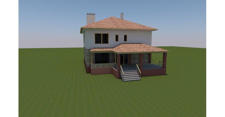Проект кирпичного дома площадью 312 кв.м. - общий вид