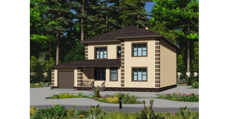 Проект дома ГБ-234 из кирпича, площадь 234 кв.м - общий вид
