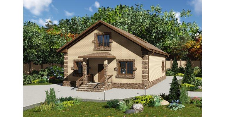 Проект кирпичного дома ГБ-152, площадь 152 кв.м - общий вид