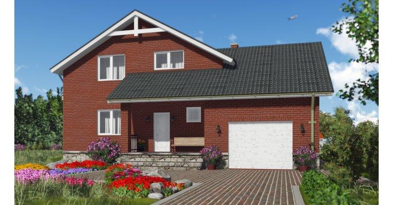 Проект кирпичного дома ГБ-208, площадь 208 кв.м - общий вид