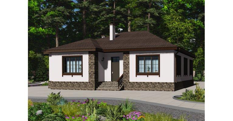 Проект кирпичного дома ГБ-172, площадь 172 кв.м - общий вид