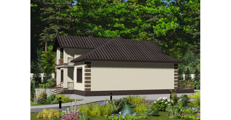 Проект кирпичного дома ГБ-156, площадь 156 кв.м - общий вид