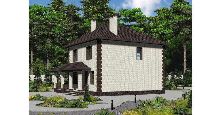 Проект кирпичного дома ГБ-170, площадь 170 кв.м - общий вид