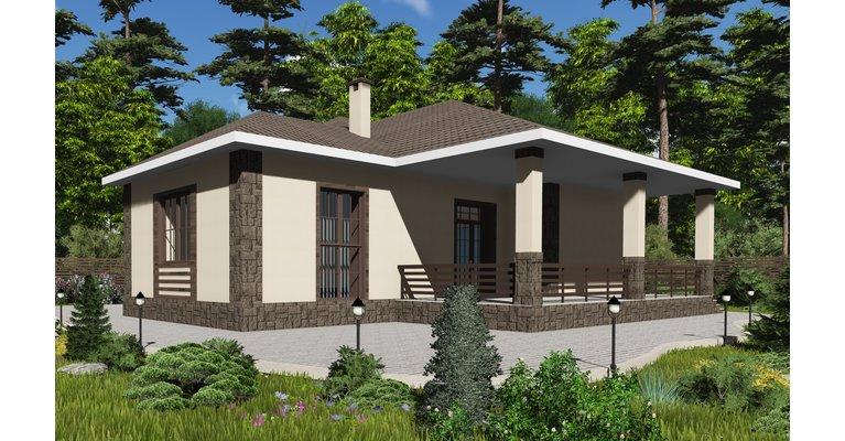 Проект одноэтажного кирпичного дома ГБ-171, площадь 171 кв.м - общий вид