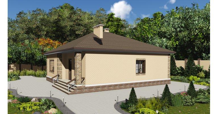 Проект одноэтажного кирпичного дома ГБ-162, площадь 162 кв.м - общий вид