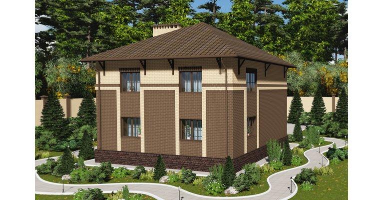 Проект дома ГБ-224 из кирпича с цокольным этажом, площадь 224 кв.м - общий вид