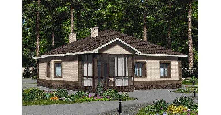 Проект кирпичного одноэтажного дома ГБ-160, площадь 160 кв.м - общий вид