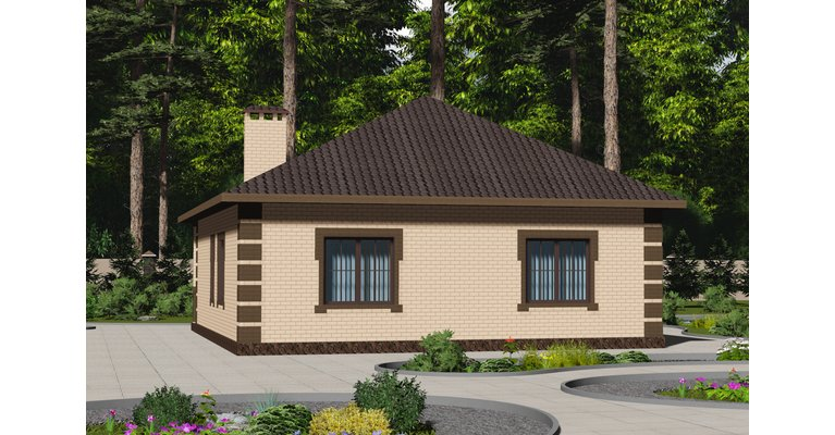 Проект кирпичного дома ГБ-123, площадь 123 кв.м - общий вид