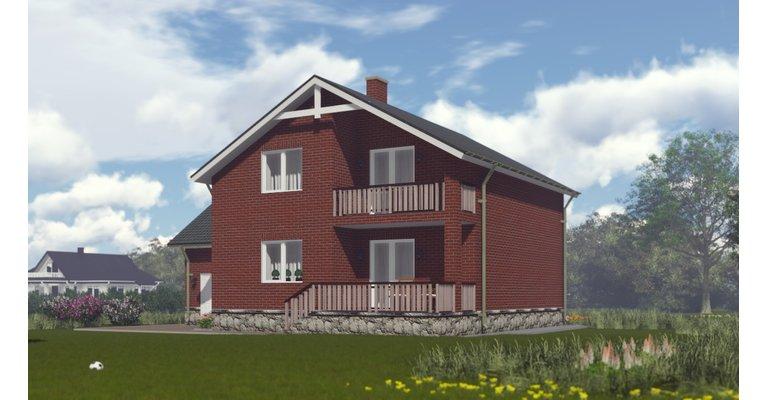 Проект кирпичного дома ГБ-208 - общий вид