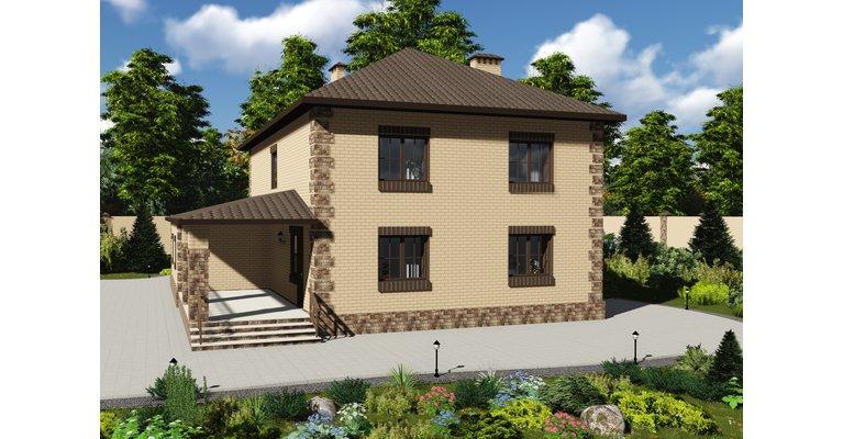 Проект кирпичного дома ГБ-220, площадь 220 кв.м - общий вид