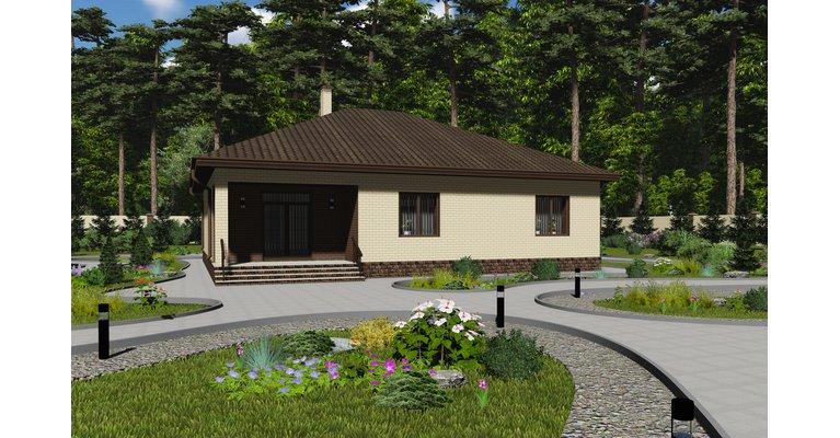Проект одноэтажного кирпичного дома ГБ-223, площадь 223 кв.м - общий вид