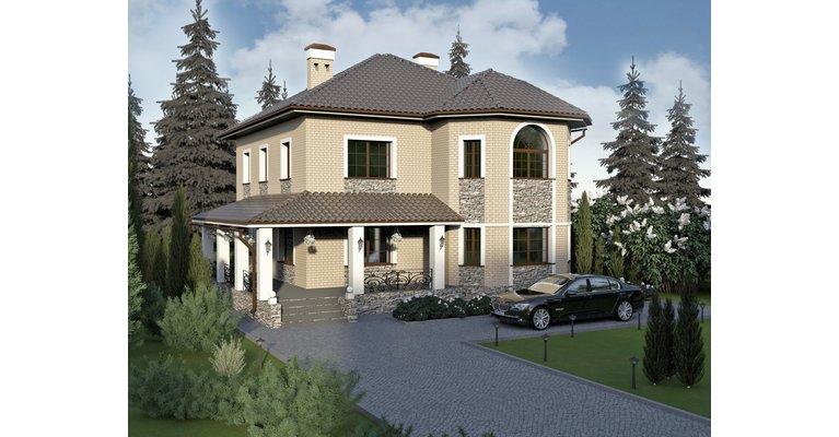 Проект кирпичного дома ГБ-196 с небом, площадью 196 кв.м - общий вид