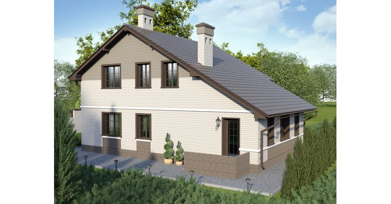 Проект кирпичного дома ГБ-164, площадь 164 кв.м - общий вид