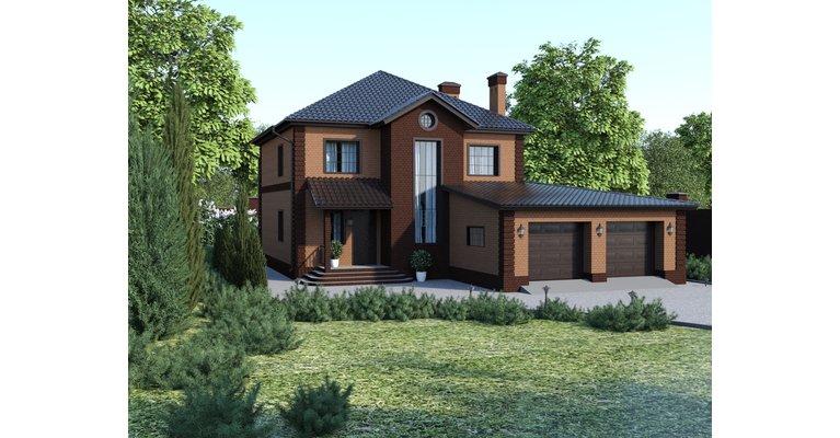 Проект дома ГБ-238 из кирпича, площадь 238 кв.м - общий вид