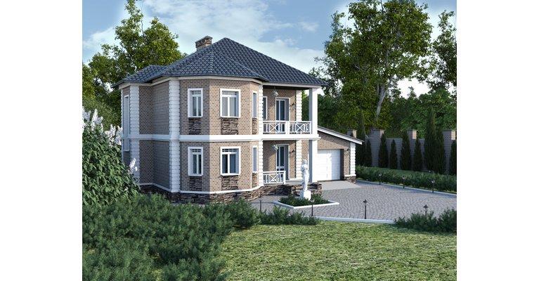 Проект кирпичного дома ГБ-193, площадь 193 кв.м - общий вид