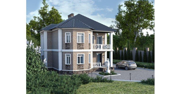 Проект кирпичного дома ГБ-168, площадь 168 кв.м - общий вид