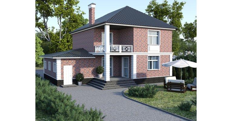 Проект кирпичного дома ГБ-195, площадь 195 кв.м - общий вид