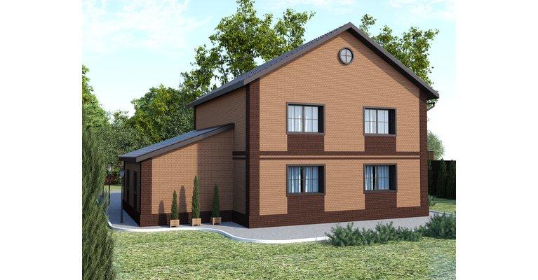 Проект кирпичного дома ГБ-194,  площадь 194 кв.м - общий вид