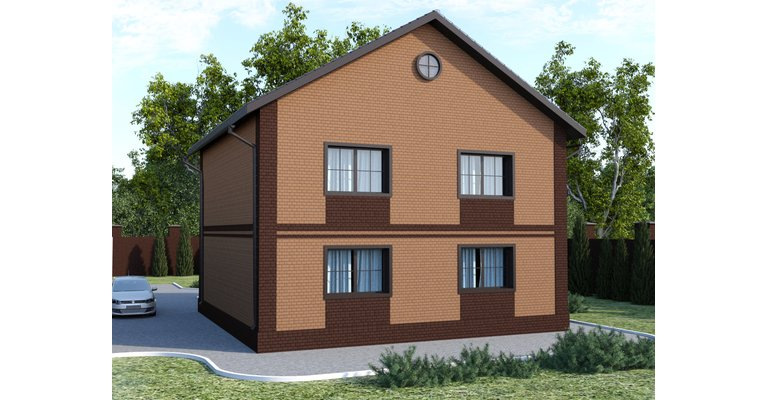 Проект кирпичного дома ГБ-165, площадь 165 кв.м - общий вид