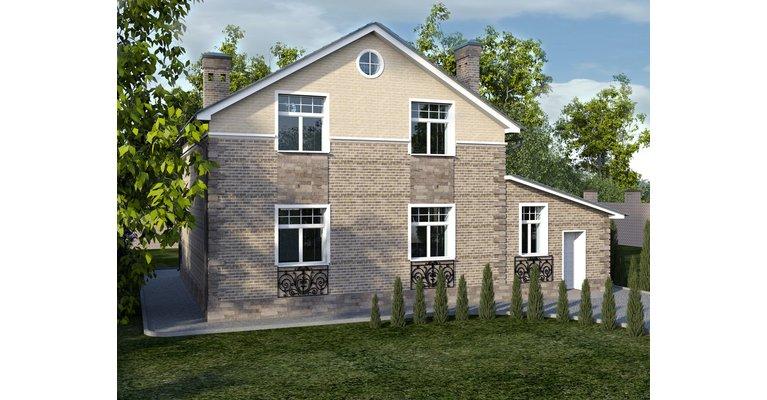 Проект кирпичного дома ГБ-178, площадь 178 кв.м - общий вид
