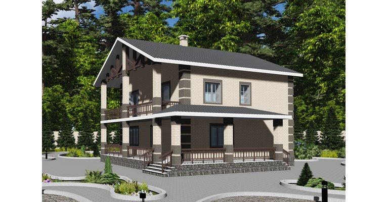 Проект кирпичного дома ГБ-203, площадь 203 кв.м - общий вид