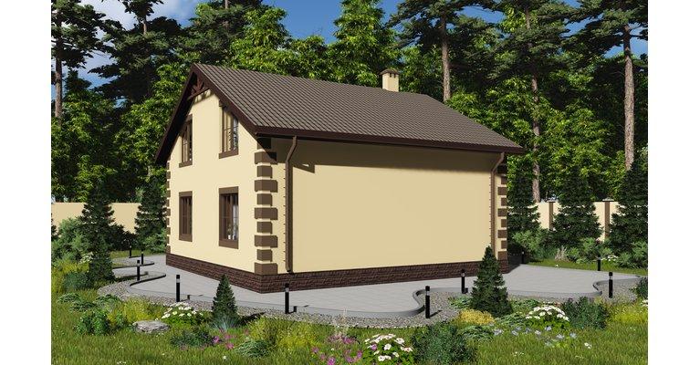 Проект кирпичного дома ГБ-177, площадь 177 кв.м - общий вид