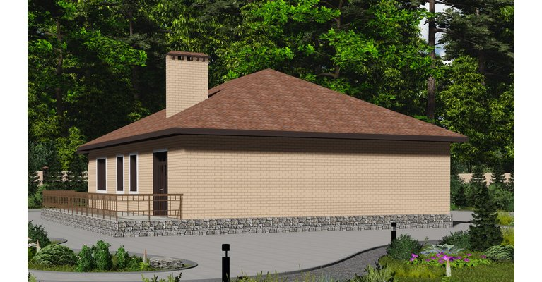Проект одноэтажного кирпичного дома с гаражом ГБ-165, площадь 165 кв.м - общий вид
