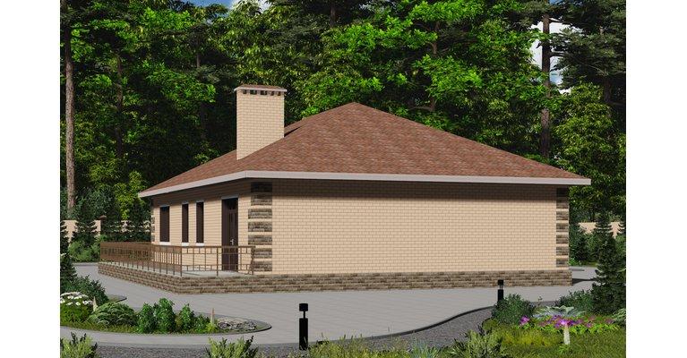 Проект одноэтажного кирпичного дома ГБ-128, площадь 128 кв.м - общий вид