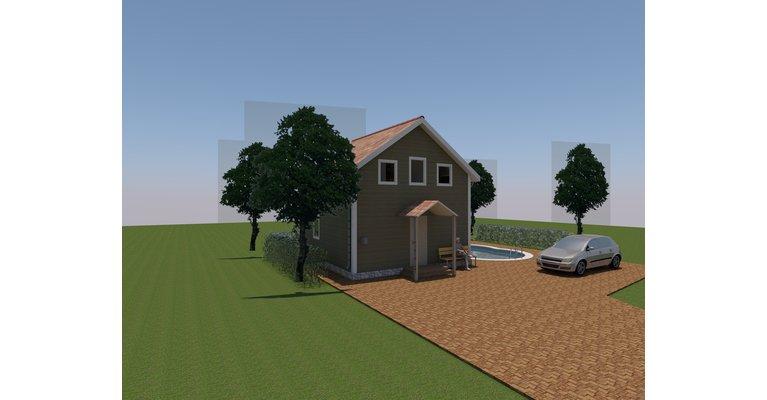 Проект дома Дачный-36 из профилированного бруса 6х6 м - общий вид