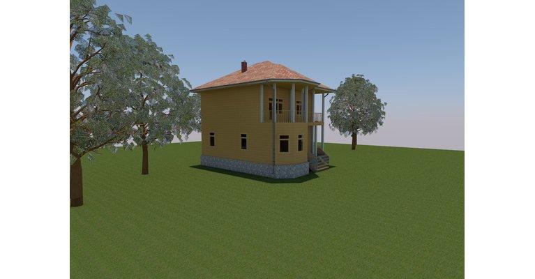 Проект дома ДК-125 из профилированного бруса, площадь 125 кв.м - общий вид