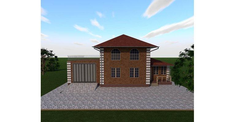 """Проект дома ГБ-181 """"Светлана"""" с гаражом, верандой и котельной, площадь 181 кв.м - общий вид"""
