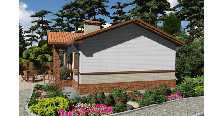 Проект кирпичного дома ГБ-70, площадь 70 кв.м - общий вид