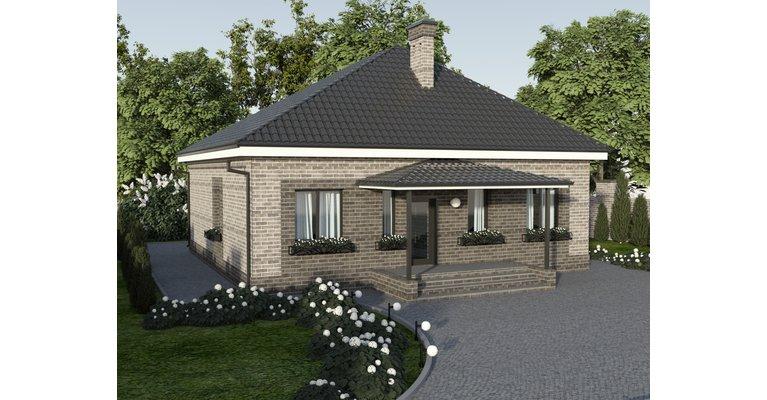 Проект одноэтажного кирпичного дома ГБ-91, площадь 91 кв.м - общий вид