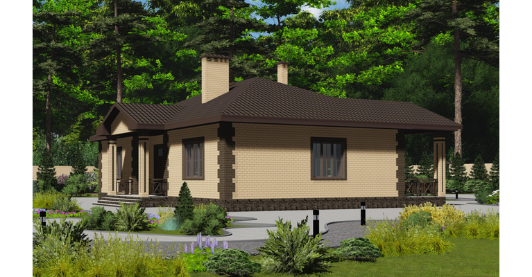 Проект кирпичного дома ГБ-153, площадь 153 кв.м - общий вид