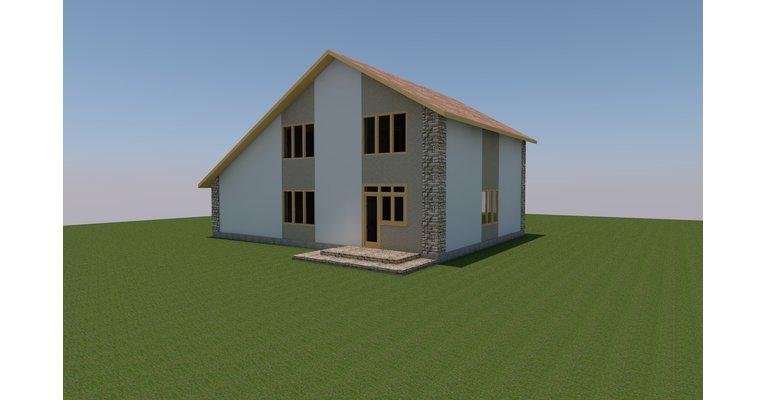 Проект дома ГБ-149 из газосиликатных блоков, площадь 149 кв.м - общий вид
