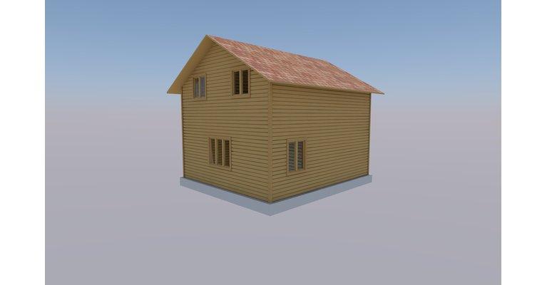 Проект дома 6х7 м из профилированного бруса, КЩ-84 - общий вид