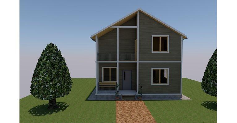 Проект дома ПБ-126 из профилированного бруса, площадь 126 кв.м - общий вид