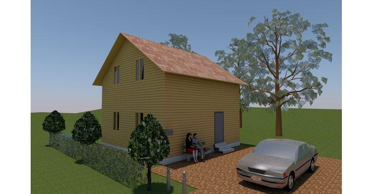 Проект дома ПБ-98 из профилированного бруса 7х7 м - общий вид