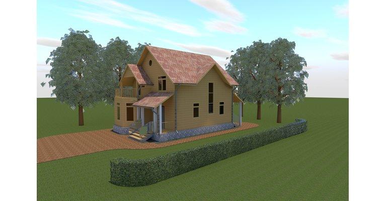 Проект каркасного дома КЩ-133, площадь 133 кв.м - общий вид