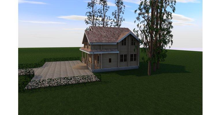 Проект дома из бревна 200 кв м - БЦ-200 - общий вид