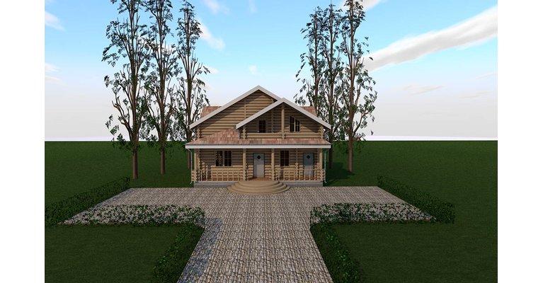 Проект дома БЦ-200 из оцилиндрованного бревна, площадь 200 кв.м - общий вид