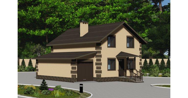 Проект каменного дома ГБ-115 с гаражом, площадь 115 кв.м - общий вид