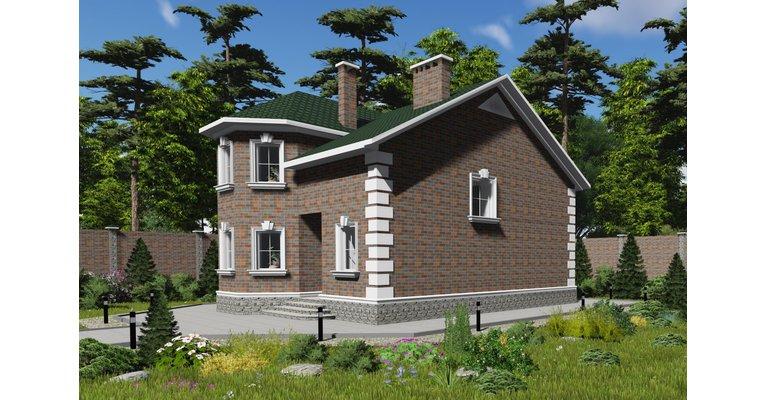 Проект дома ГБ-135 из газосиликатных блоков, площадь 135 кв.м - общий вид