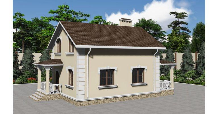 Проект каменного дома с мансардой ГБ-107 - общий вид