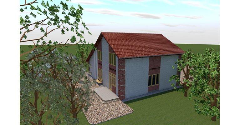 Проект дома ГБ-149 из кирпича, площадь 149 кв.м - общий вид