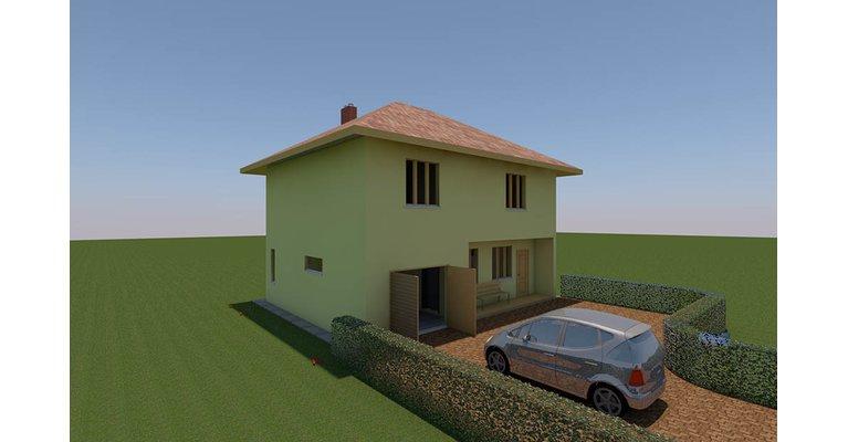 Проект дома ГБ-160 из газосиликатных блоков с гаражом, площадь 128 кв.м + 32 кв.м - общий вид