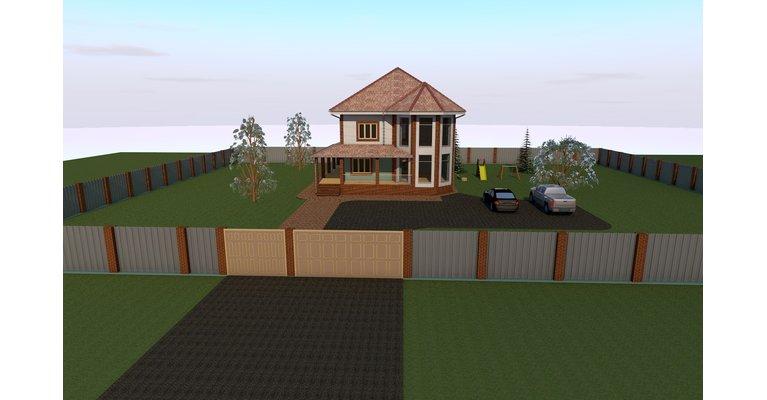 Проект кирпичного дома К-260, площадь 260 кв.м - общий вид