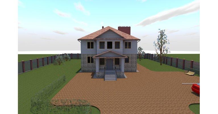 Проект трехэтажного кирпичного дома К-462, 462 кв м - общий вид