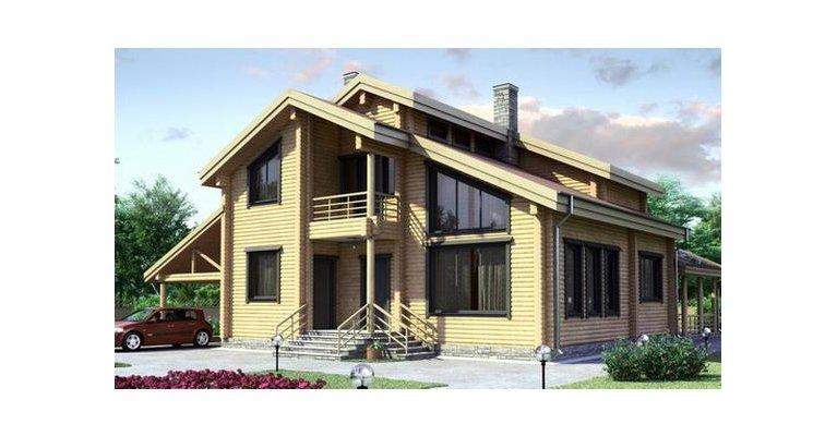 Проект дома БК-164 из клееного бруса, площадь 164 кв.м - общий вид