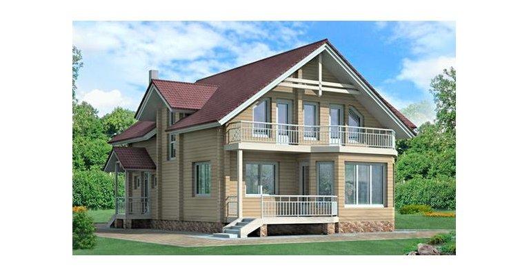 Проект дома БО-169 из профилированного бруса, площадь 169 кв.м - общий вид